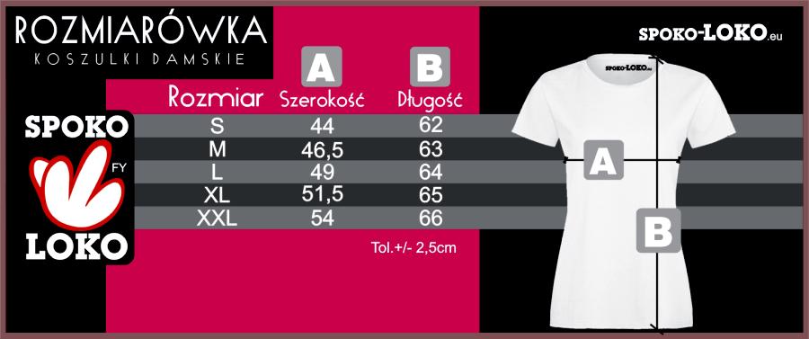 rozmiarówka damska koszulki z nadrukiem SPOKO LOKO Koszulkolandia